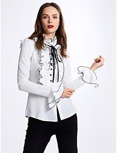 Damen Solide Einfach Lässig/Alltäglich Hemd Frühling Herbst Langarm Polyester Undurchsichtig Dünn