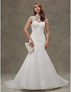 Mermaid / Trumpet Illusion Neckline Court Train Organza Wedding Dress with Appliques Button by LAN TING BRIDE®