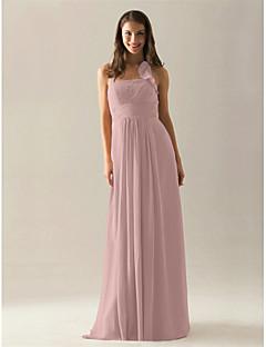 Lanting Bride® Floor-length Chiffon Bridesmaid Dress - A-line Halter Plus Size / Petite with Draping / Ruffles / Ruching / Pleats