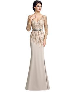 Kappe / kolonne mor til bruden kjole gulvlange langermet chiffon med perle