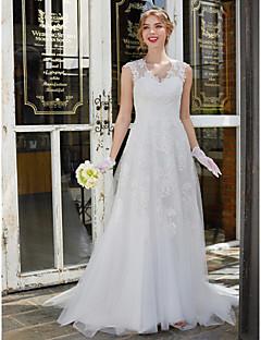 A-linje V-hals Børsteslæb Blondelukning Tyl Bryllupskjole med Blonde ved LAN TING BRIDE®