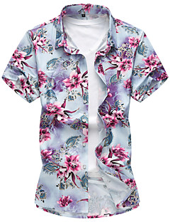 Men's Casual/Daily Beach Simple Active Summer Shirt,Floral Shirt Collar Short Sleeve Cotton Rayon Thin