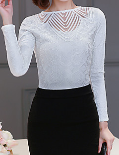 여성 솔리드 라운드 넥 긴 소매 블라우스,심플 캐쥬얼/데일리 그외