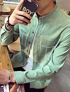 Men's Casual/Daily Simple Shirt,Solid Stand Long Sleeve Others