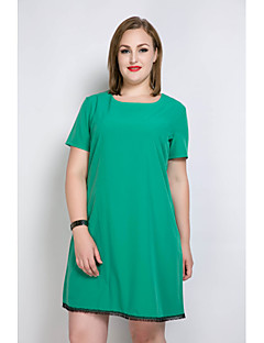 Damă Casul/Zilnic Nuntă Plus Size Sexy Simplu(ă) Drăguț(e) Larg Tricou Tunică Rochie-Mată Bloc Culoare Manșon scurt RotundLungime