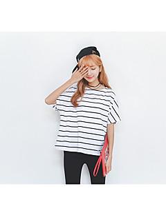 Dames Eenvoudig Zomer T-shirt,Casual/Dagelijks Gestreept Ronde hals Korte mouw Katoen Medium