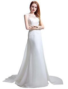 칼집 / 열 웨딩 드레스 법원 기차 레이스와 보석 쉬폰