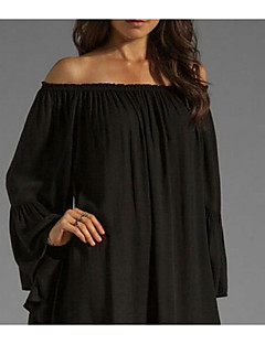 Women's Casual/Daily Chiffon Dress,Solid Off Shoulder Above Knee Long Sleeve Cotton Summer Mid Rise Micro-elastic Medium