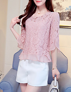 Women's Lace Going out Beach Simple Boho Summer Fall Blouse,Solid Round Neck Short Sleeve Silk Cotton Opaque
