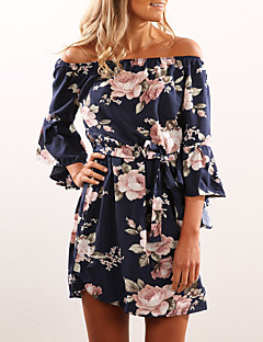Women's Going out Casual/Daily Club Sexy Vintage Boho Flare Sleeve Slim Backless Sheath DressFloral Boat Neck Asymmetrical  Sleeve High Rise