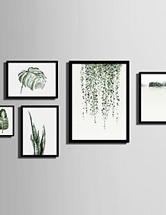 Landscape Virágos / Botanikus Bekeretezett vászon Bekeretezett szett Wall Art,PVC Anyag Fekete Háttéranyag nélkül a Frame For