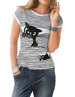 Women's Fine Stripe Casual/Daily Simple T-shirt,Solid Striped Round Neck Short Sleeve Polyester