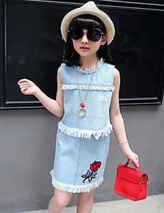 Girls' Casual/Daily Holiday Solid Print Embroidered Sets,Cotton Summer Sleeveless Clothing Set