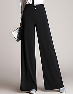 Women's High Rise Inelastic Chinos Pants,Simple Wide Leg Solid