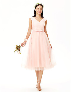 a-line v-hals te lengde blonder tulle brudepike kjole med bue (s) sash / bånd av yaying