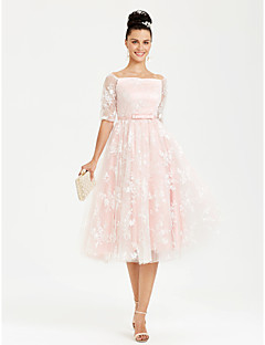 Princess Bateau Neck Tea Length Lace Satin Formal Evening Dress with Bow(s) Sash / Ribbon
