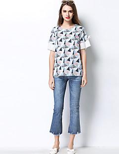 Feminino Camiseta Diário Casual Para Noite Simples Primavera Verão,Estampado Poliéster Decote Redondo Meia Manga Fina