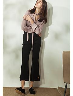 Damer Enkel Uelastisk Afslappet Bredt Bukseben Bukser,Højtaljede Ensfarvet