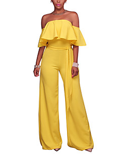 여성 섹시 심플 스트리트 쉬크 캐쥬얼/데일리 클럽 휴일 점프 수트,와이드 레그 높은 밑위 휴일 러플 뒷면이 없는 스타일 스프링 여름 패션 한색상