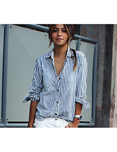 Women's Casual/Daily Simple Street chic Summer Shirt,Striped Shirt Collar Long Sleeve Cotton