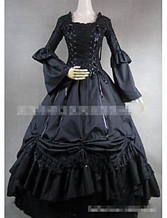 One-Piece/Dress Gothic Lolita Vintage Inspired Elegant Cosplay Lolita Dress Solid Color Floor-length Skirt Dress ForPadded Fabric Cotton