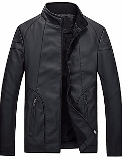 Men's Going out Simple Winter Leather Jacket,Solid Stand Long Sleeve Short Others