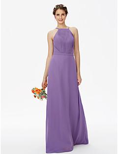 LAN TING BRIDE עד הריצפה רצועות ספגטי שמלה לשושבינה  - גב יפהפייה אלגנטי ללא שרוולים שיפון