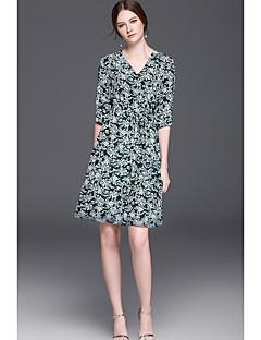 Kadın Dışarı Çıkma Günlük/Sade Sade A Şekilli Elbise Desen,½ Kol Uzunluğu V Yaka Diz-boyu Suni İpek Bahar Yaz Yüksek Bel Mikro-Esnek İnce