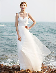 A-line Wedding Dress Simply Sublime Sweep / Brush Train Straps Tulle with Ruche Sequin