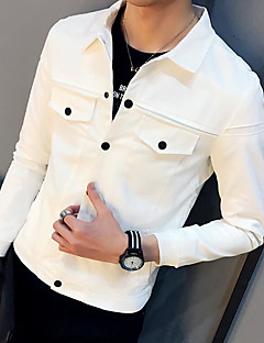 Men's Casual/Daily Simple Spring Jacket,Solid Shirt Collar Long Sleeve Regular Cotton