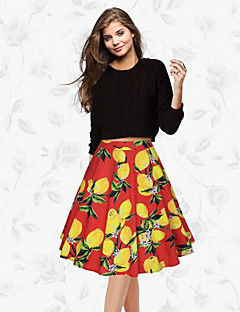 Women's Swing Print Skirts,Going out Mid Rise Midi Zipper Polyester Micro-elastic Spring Summer
