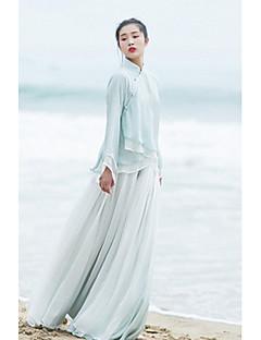 Damer Kineserier Elastisk Afslappet Løstsiddende Bukser,Lavtaljede Ensfarvet