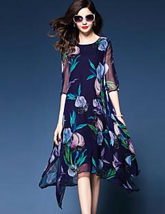 Mousseline de Soie Balançoire Robe Femme Sortie Grandes Tailles simple Sophistiqué,Fleur Col Arrondi Midi Polyester Mousseline de soie Eté