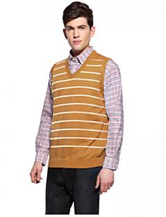Herrer Simpel I-byen-tøj Afslappet/Hverdag Arbejde Normal Vest Ensfarvet,V-hals Uden ærmer Uld Polyester Nylon Forår Efterår Tyk