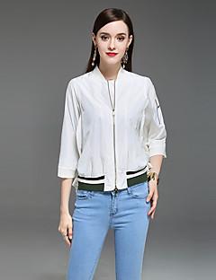Damen Solide Freizeit Lässig/Alltäglich Jacke,V-Ausschnitt Frühling Sommer Lange Ärmel Kurz Polyester