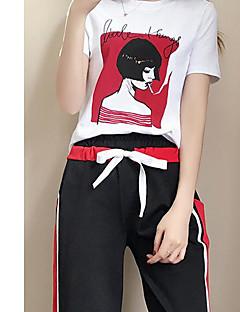 Kortærmet Mikroelastisk Damer Sommer Sød T-shirt Bukse Jakkesæt