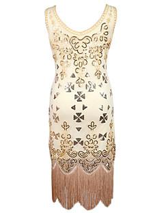 라틴 댄스 드레스 여성용 공연 스팽글 1개 민소매 높음 드레스