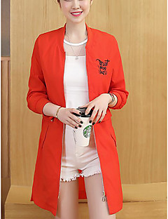 Women's Casual Simple Summer Trench Coat,Solid Round Neck Long Sleeve Long Polyester