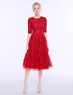 Sheath / Column Jewel Neck Knee Length Lace Tulle Cocktail Party Dress