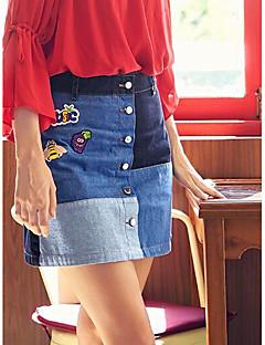 קיץ חצאיות מעל הברך יום יומי\קז'ואל בלוק צבע גזרת A נשים
