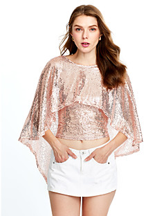 Women's Sequin Casual/Daily / Club Sexy / Street chic Spring / Fall T-shirtSolid Round Neck Sequins Backless Short Sleeve Medium