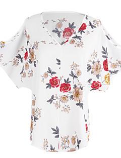 レディース お出かけ カジュアル/普段着 夏 Tシャツ,シンプル Vネック フラワー ポリエステル 半袖 薄手