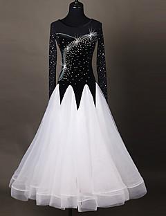 ריקודים סלוניים שמלות בגדי ריקוד נשים הופעה Chinlon אפליקציה שחבור חלק 1 שרוול ארוך גבוה שמלות