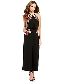 Women's Sexy High Rise Casual/Daily Club Vintage Wide Leg Pants Backless Cut Out Flower Embroidered Hollow Jumpsuits