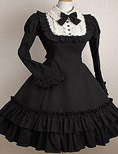 One-Piece/Dress Classic/Traditional Lolita Elegant Princess Cosplay Lolita Dress Fashion Solid Color Cap Short Sleeve Short / MiniTuxedo