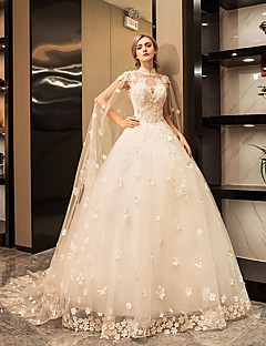 Hercegnő Magasnyakú Földig érő Tüll Esküvői ruha val vel Kristály Rátétek Csipke által YUANFEISHANI