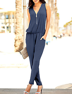 Women's High Rise Casual/Daily Club Holiday JumpsuitsSimple Classic Style Slim Beach Zipper Pure Color Sexy Holiday Fashion Solid Color Spring Summer