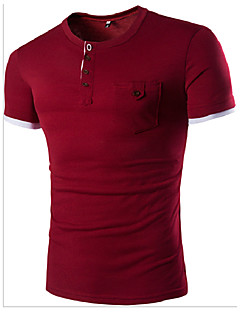 Men's Sports Casual/Daily Simple T-shirt,Solid Color Block Round Neck Short Sleeve Cotton