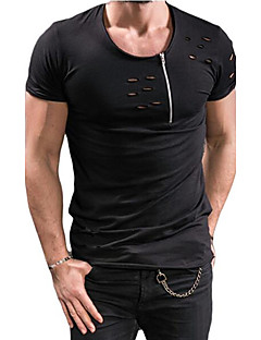 Men's Sports Casual/Daily Chinoiserie T-shirt,Solid Round Neck Short Sleeve Cotton