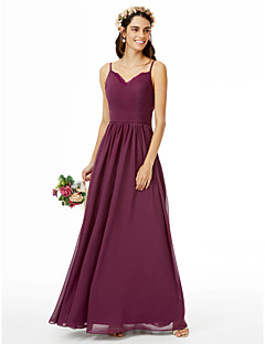 LAN TING BRIDE עד הריצפה רצועות ספגטי שמלה לשושבינה  - גב פתוח ללא שרוולים שיפון תחרה